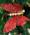 Set 6 Cilps Mariposas Rojas Decoración Navidad