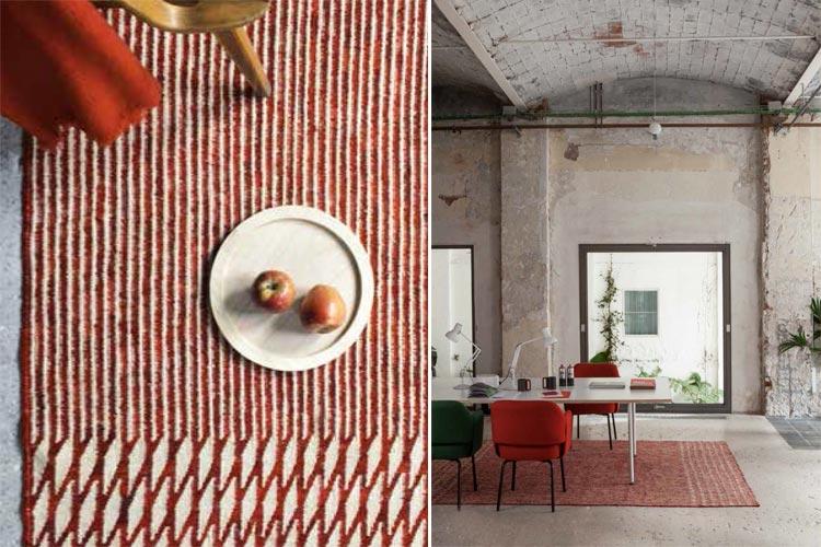Alfombra de lana 100% Blur rojo   Ámbar Muebles