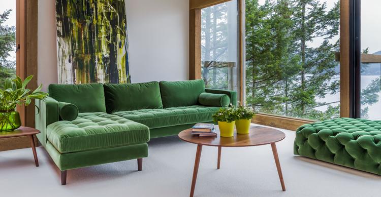 Ambiente moderno con chaise longue y puff de inspiración mid-century modern | Pinterest