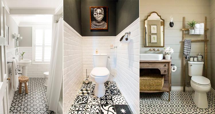 Azulejo hidráulico continuo y en mosaico para el suelo del baño - Inspiración vía Pinterest