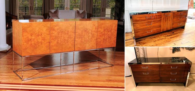 Aparadores con patas de acero inoxidable y puertas chapadas en madera, por Milo Baughman - Inspiración vía Pinterest