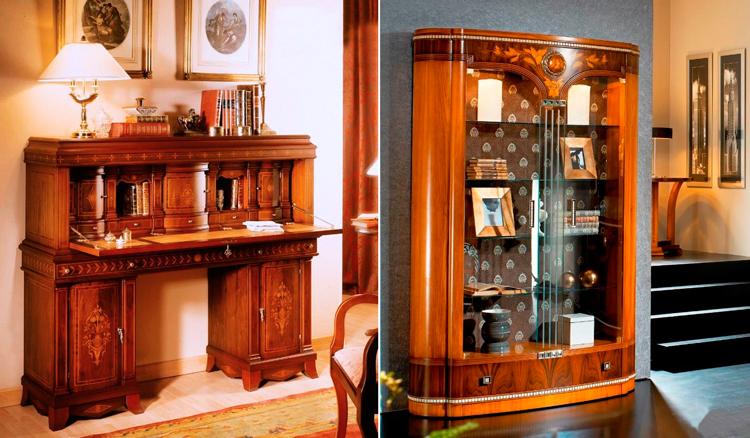 Muebles clásicos con marquetería - 1. Buró escritorio Cruzalt | 2. Vitrina clásica Abart