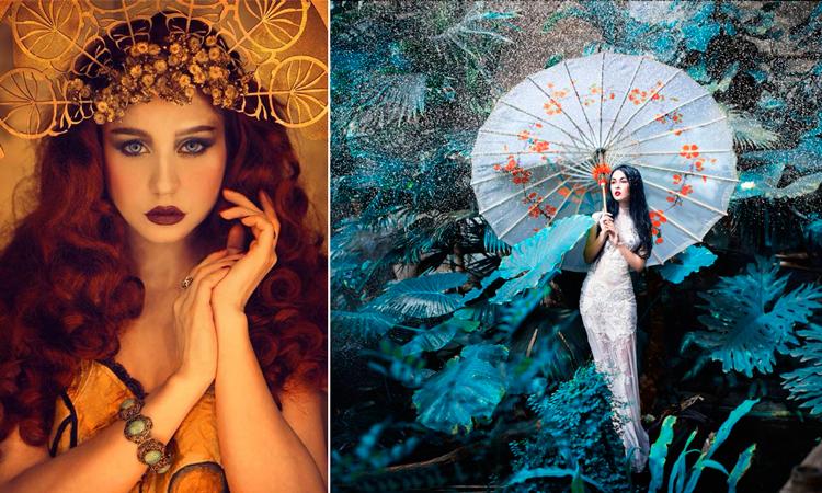 Cuadros de metacrilato Zena: 1. Cuadro Mujer de pelo rojo | 2. Cuadro metacrilato Mujer con sombrilla de papel