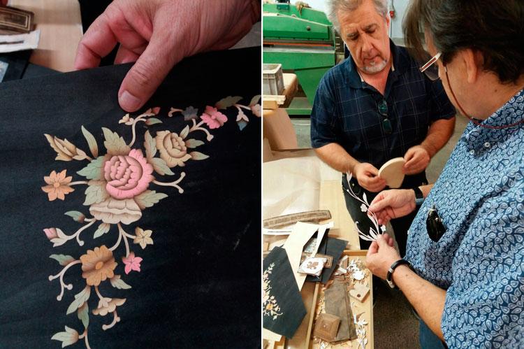 Marquetería con color - Visita a la fábrica de Mariner - Emilio Escribano y Paco Escrivá