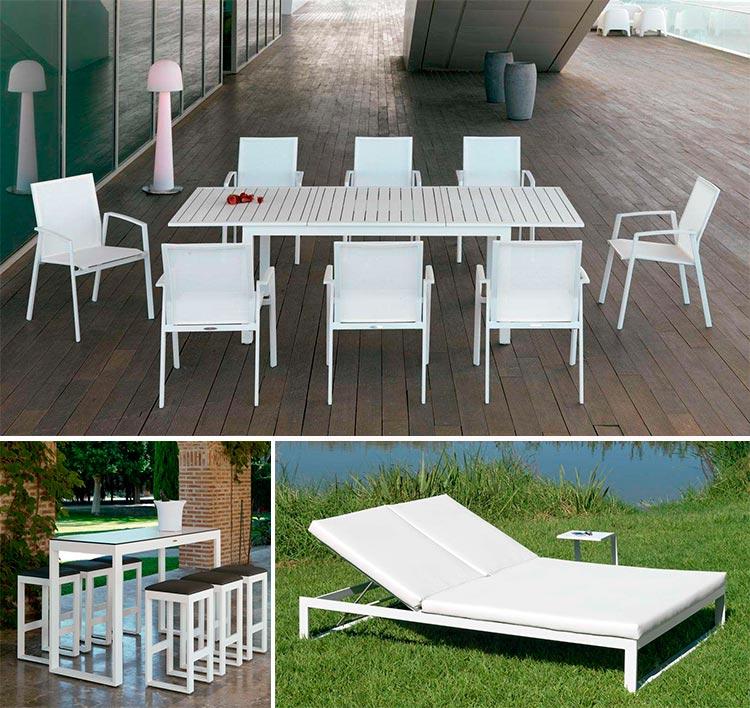 Mesas y tumbonas de aluminio blanco - Ámbar Muebles