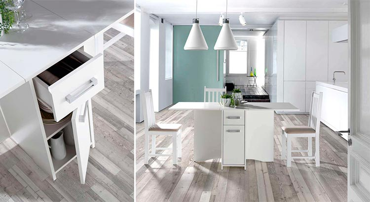 Mesa para cocina con alas y cajones Carmona | Ámbar Muebles