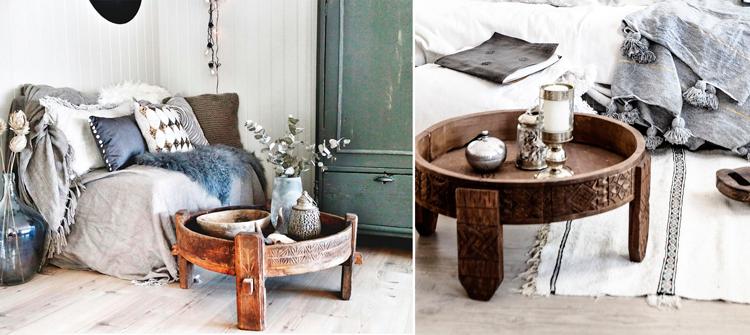 Mesas 'chakki' de madera de teka tallada - Inspiración vía Pinterest