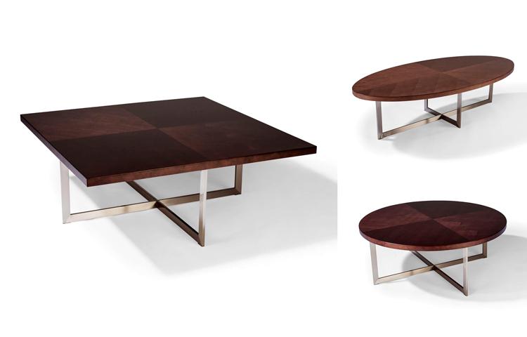 Mesas de centro con patas de acero y encimeras chapadas en nogal de Milo Baughman - Inspiración vía Pinterest