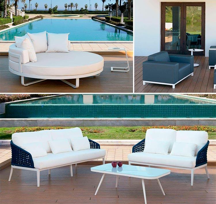 Muebles de exterior en aluminio blanco - Ámbar Muebles
