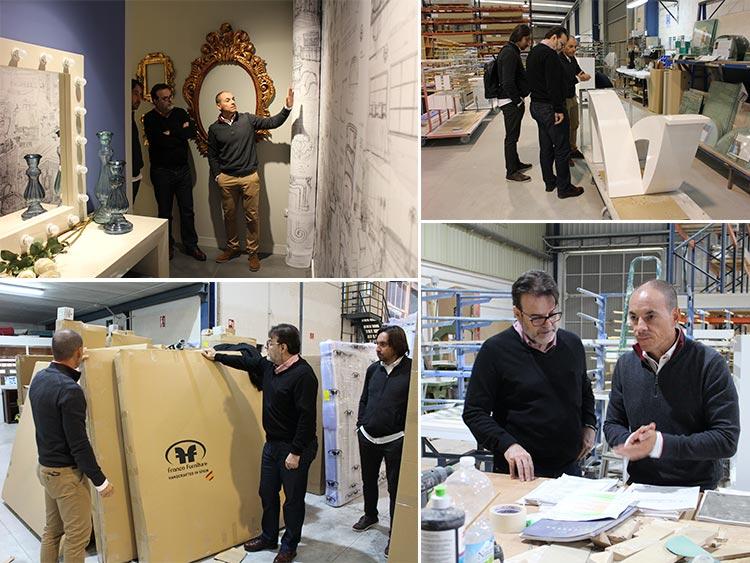 Juan José Franco, Jorge Amorós y Paco Escrivá visitan Franco Furniture