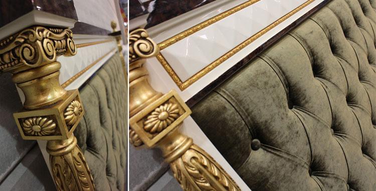 Cabecero lacado en blanco alto brillo con columnas, acabadas en pan de oro - Mariner