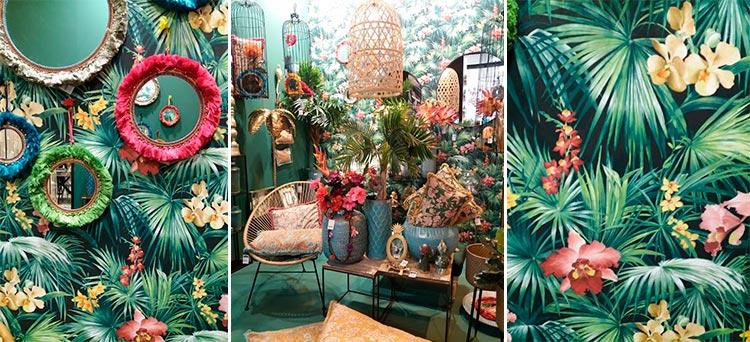 Papel con decoración tropical en Intergift 2019 | Ámbar Muebles