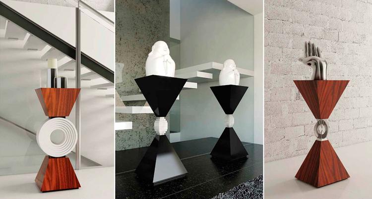 Pedestales de diseño en Ámbar Muebles: 1. London | 2. Ginebra| 3. Moscú