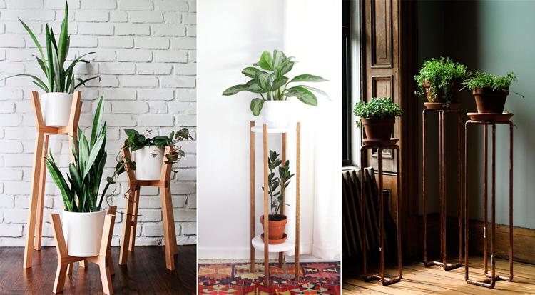 Pedestales modernos de madera y de metal para plantas - Inspiración vía Pinterest