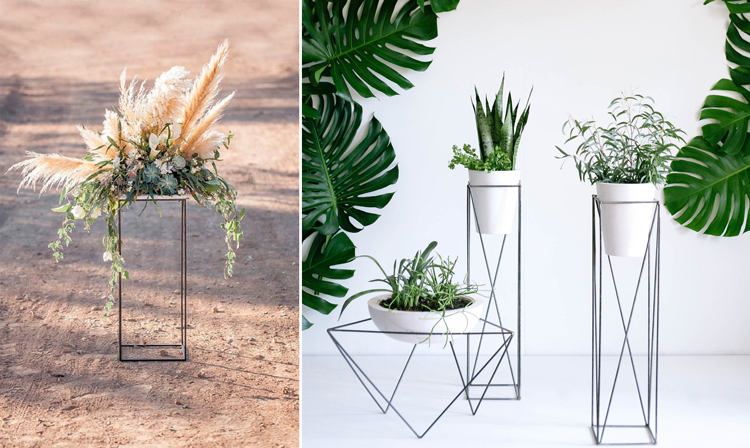 Pedestales wire de metal para plantas - Inspiración vía Pinterest