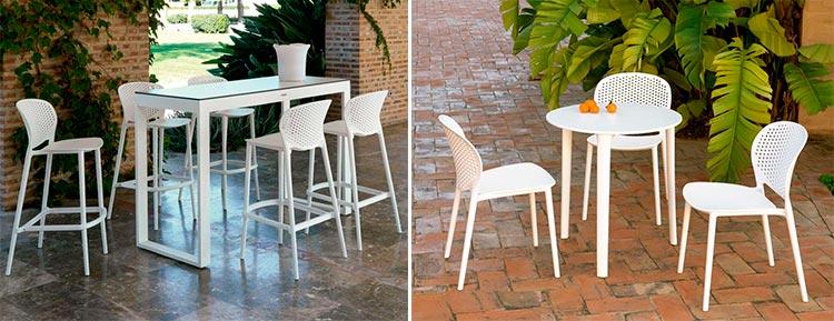 Mesas de exterior y taburetes Malta - Ámbar Muebles