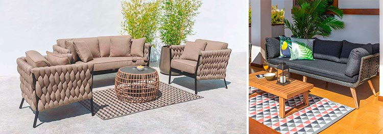 Muebles de jardín con cuerda trenzada Dabel y Luciana - Ámbar Muebles