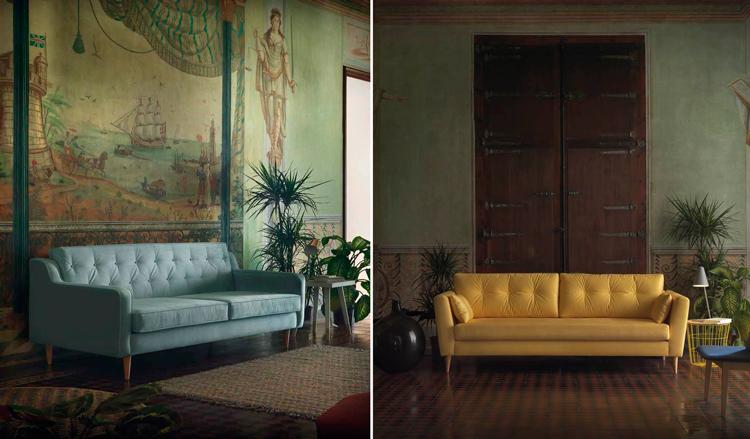 1. Sofá de diseño Yarí | 2. Sofá de diseño vintage Atrato en Ámbar Muebles