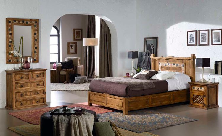 Dormitorio rústico Triana con mosaico de mármol - Ámbar Muebles
