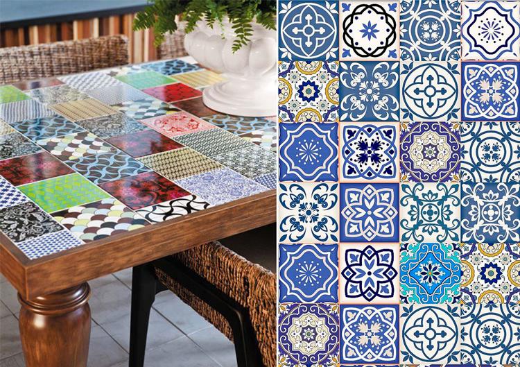 Ideas de decoración de muebles con azulejos de colores - Inspiración vía Pinterest