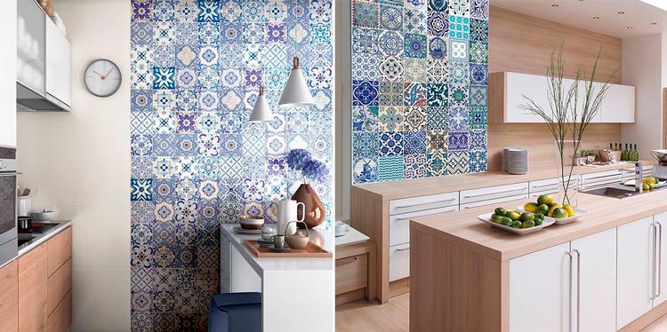 Decoración de cocina con mosaico de azulejo en tonos azules - Inspiración vía Pinterest