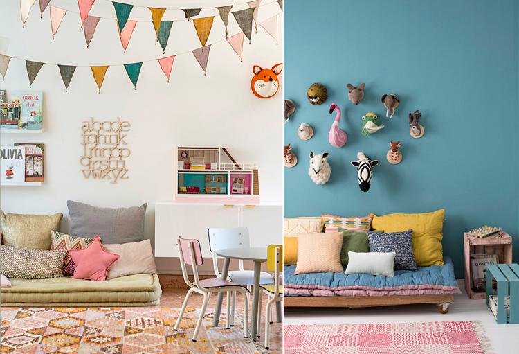 Sofás y futones para zonas de juego infantiles - Inspiración vía Pinterest