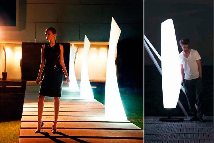 Lámpara de pie de exterior Wing | Lámpara de diseño Blanca | Ámbar Muebles