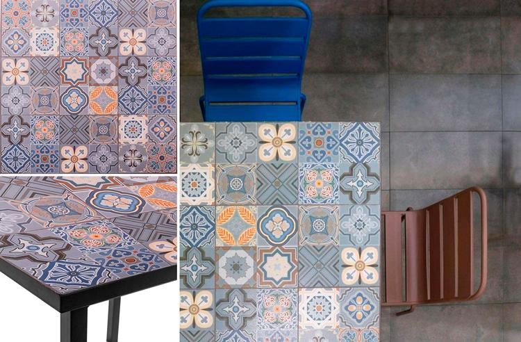 Mesa de comedor cuadrada de jardín con mosaico Dunia - Ámbar Muebles