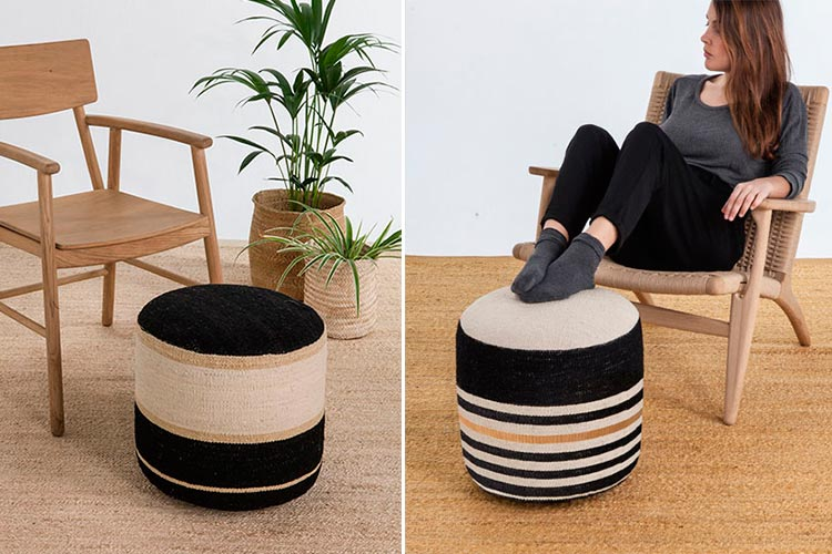 Pouf Kilim negro de Nanimarquina   Ambar Muebles