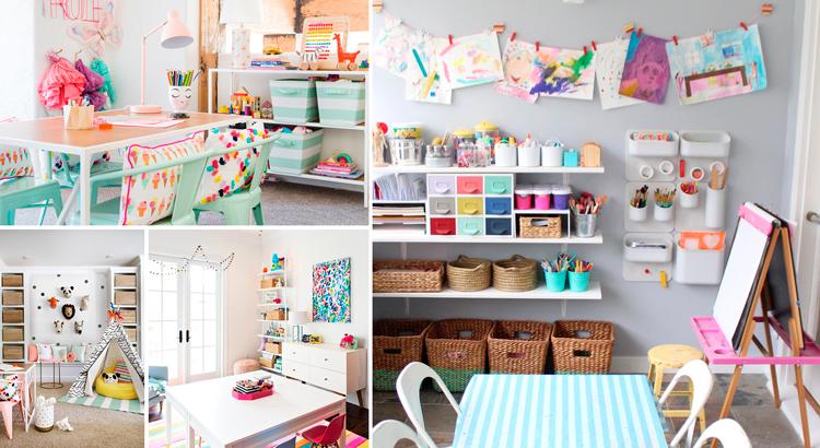 Zonas de almacenamiento en la sala de juegos infantil - Inspiración vía Pinterest