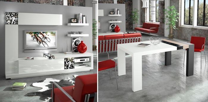 Colecci n samara muebles de dise o innovadores para tu for Mesas extraibles salon