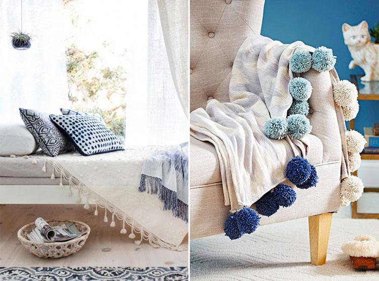 decorando ambientes tnicos y boho con borlas y pompones