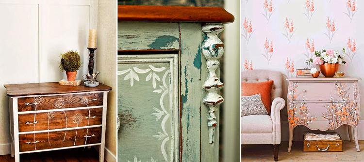 Muebles r sticos pintados a mano inspiraci n campestre for Muebles de mimbre pintados